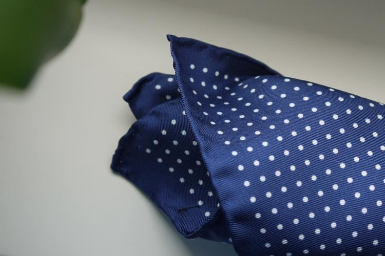Pin Dot Silk Pocket Square - Navy Blue/White