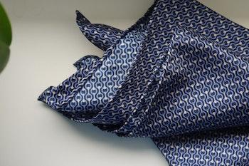 Catena Silk Pocket Square - Navy Blue/Light Blue/White