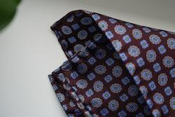 Medallion Silk Pocket Square - Burgundy/Light Blue/Yellow
