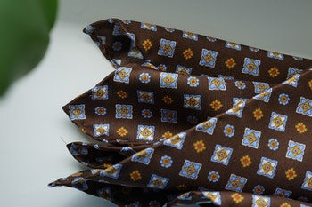 Floral Silk Pocket Square - Brown/Light Blue/Yellow