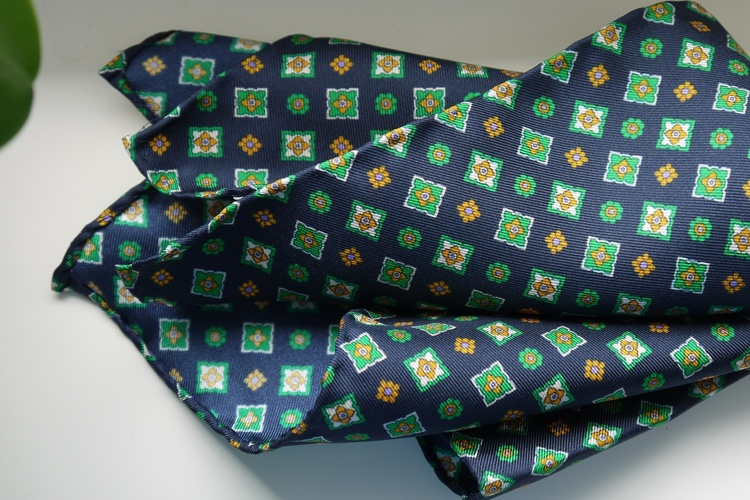 Floral Silk Pocket Square - Navy Blue/Green/Yellow