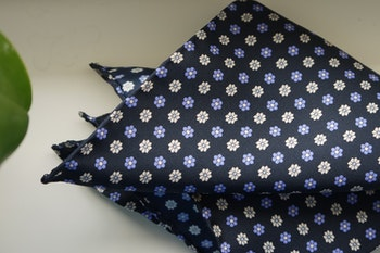 Floral Silk Pocket Square - Navy Blue/Purple/White