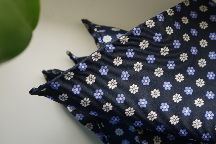 Floral Silk Pocket Square - Navy Blue/Purple/White