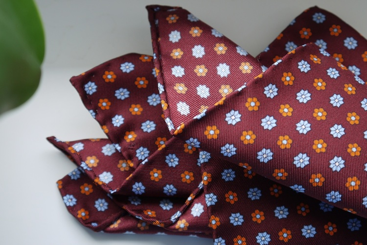 Floral Silk Pocket Square - Burgundy/Light Blue/Orange