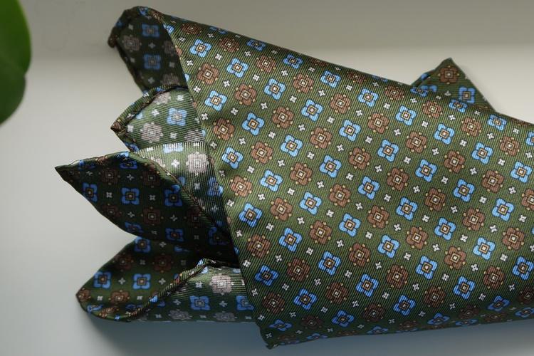Floral Silk Pocket Square - Olive Green/Light Blue/Brown