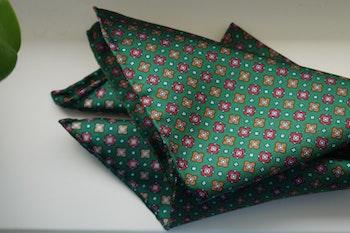 Floral Silk Pocket Square - Green/Red/Orange
