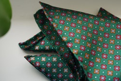 Floral Silk Pocket Square - Green/Red/Orange
