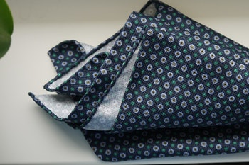 Floral Silk Pocket Square - Navy Blue/Light Blue/Green/Yellow