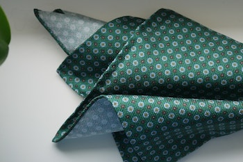 Floral Silk Pocket Square - Green/Light Blue/Brown/Yellow