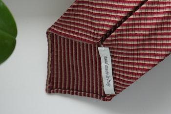 Thin Stripe Silk/Cotton Tie - Untipped - Burgundy/Beige/Brown