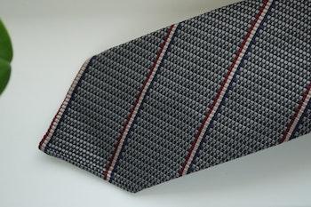 Regimental Silk/Cotton Tie - Untipped - Brown/Beige/Burgundy/Navy