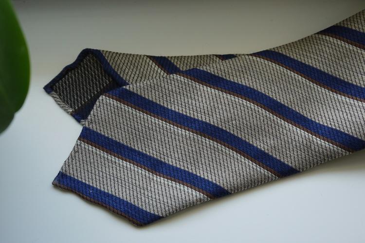 Regimental Wool/Silk Tie - Untipped - Beige/Navy Blue