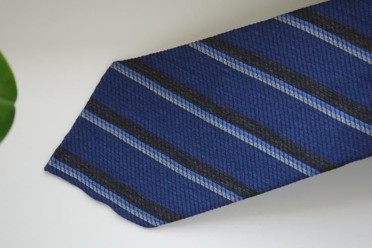 Regimental Wool/Silk Tie - Untipped - Mid Blue/Grey/Light Blue