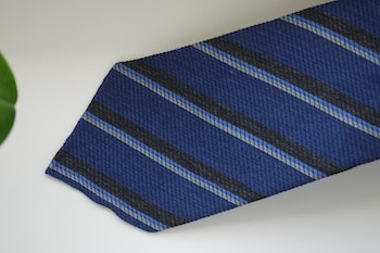 Regimental Wool/Silk Tie - Untipped - Mid Blue/Grey/Light Blue