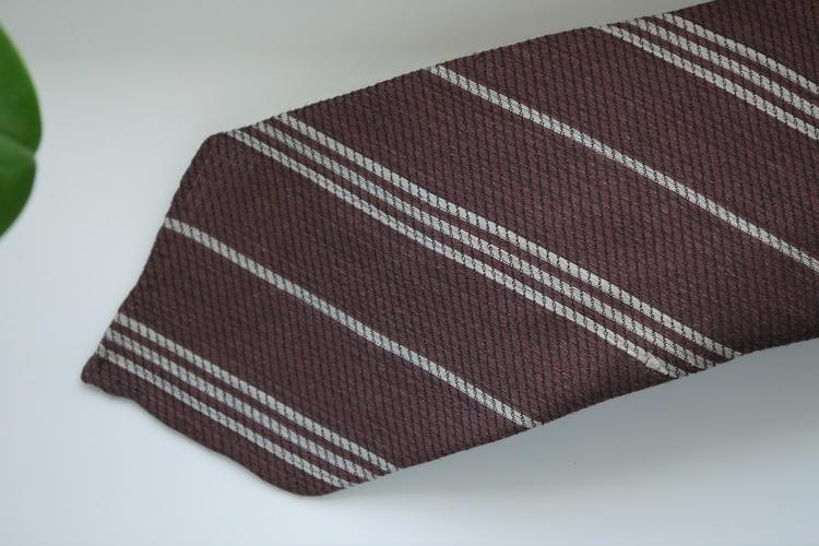 Regimental Wool/Silk Tie - Untipped - Mid Brown/Beige