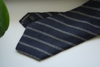Regimental Cashmere/Silk Tie - Navy Blue/Light Grey