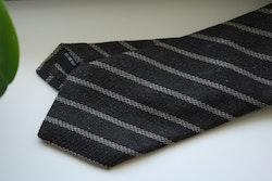 Regimental Cashmere/Silk Tie - Dark Brown/Beige
