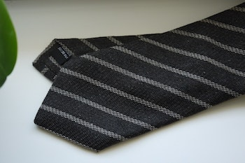 Regimental Cashmere/Silk Tie - Dark Brown/Beige