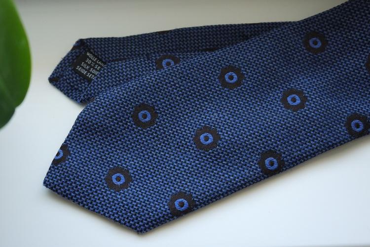 Floral Wool/Silk Tie - Mid Blue/Brown