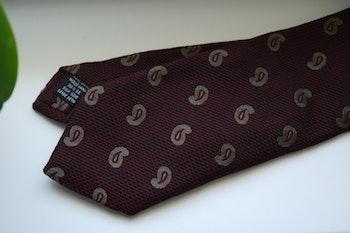 Paisley Wool/Silk Tie - Burgundy/Beige