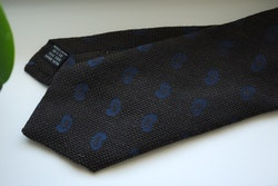 Paisley Wool/Silk Tie - Brown/Navy Blue