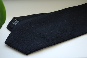 Small Floral Wool/Silk Tie - Navy Blue