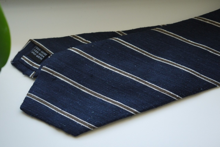 Regimental Shantung Tie - Navy Blue/Beige