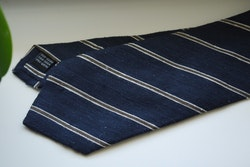 Regimental Shantung Tie - Navy Blue/Beige