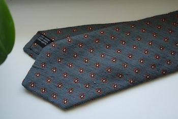 Small Floral Shantung Tie - Grey/Orange