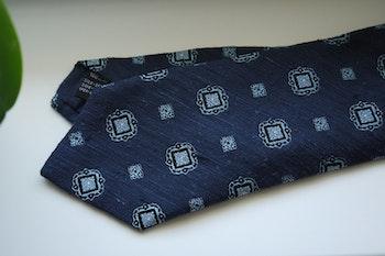 Medallion Shantung Tie - Navy Blue/Light Blue