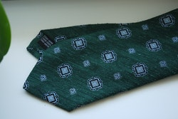 Medallion Shantung Tie - Dark Green/Light Blue