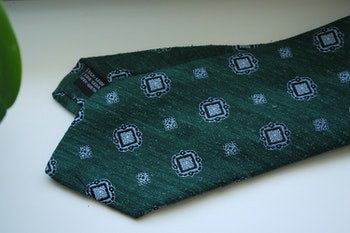 Medallion Shantung Tie - Dark Green/Light Blue