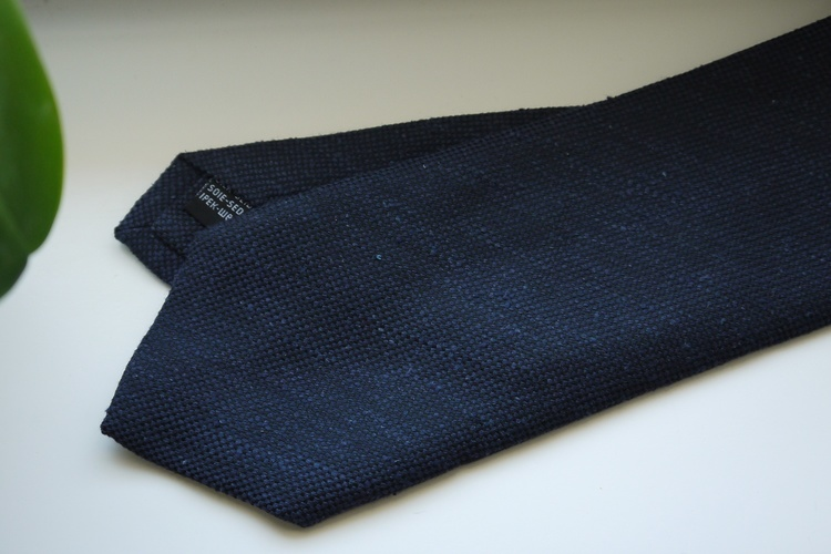Solid Textured Shantung Tie - Navy Blue