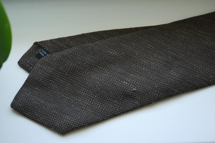 Solid Textured Shantung Tie - Brown