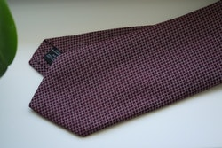 Small Check Cotton/Silk Tie - Burgundy/Grey