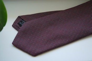 Small Check Cotton/Silk Tie - Burgundy/Grey