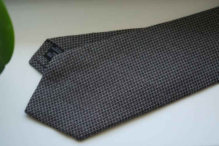 Small Check Cotton/Silk Tie - Grey