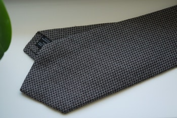 Small Check Cotton/Silk Tie - Grey