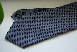 Small Check Cotton/Silk Tie - Navy Blue/Grey