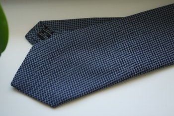 Small Check Cotton/Silk Tie - Navy Blue/Grey