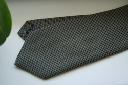 Small Check Cotton/Silk Tie - Olive Green/Grey