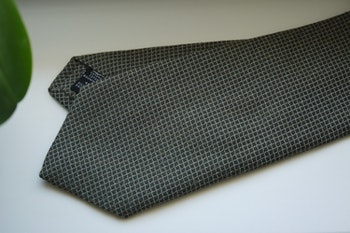 Small Check Cotton/Silk Tie - Olive Green/Grey