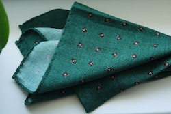 Floral Wool Pocket Square - Green/Brown