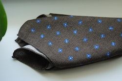 Floral Wool Pocket Square - Brown/Navy Blue