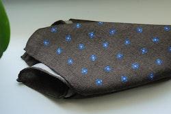 Floral Wool Pocket Square - Brown/Navy Blue