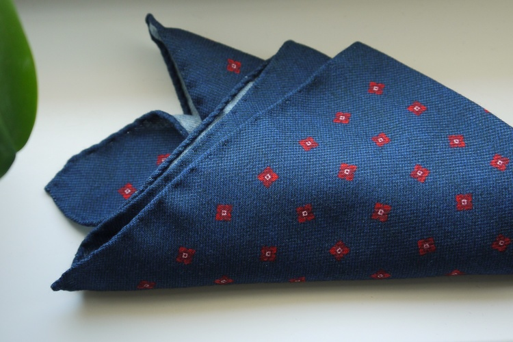 Floral Wool Pocket Square - Navy Blue/Red