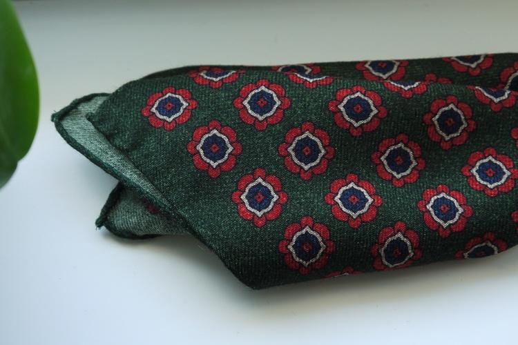 Large Medallion Wool Pocket Square - Green/Navy Blue/Orange