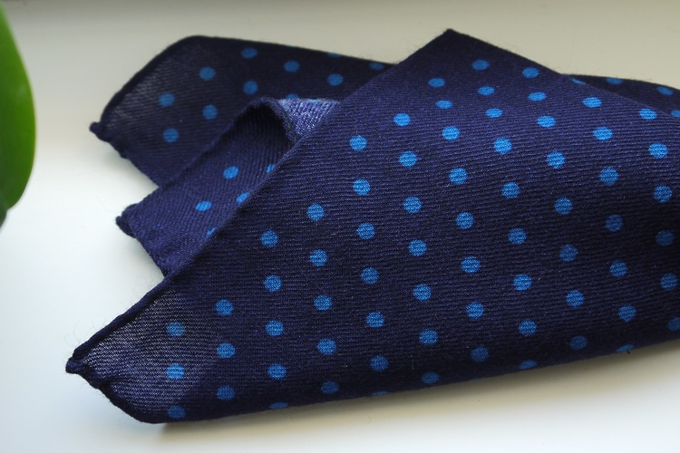 Polka Dot Wool Pocket Square - Navy Blue/Light Blue