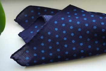 Polka Dot Wool Pocket Square - Navy Blue/Light Blue