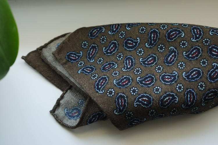 Paisley Wool Pocket Square - Beige/Navy Blue/Burgundy